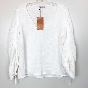 Zara   White Gauzy V Neck Boho Top Size Medium